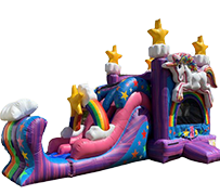 R21 - Magical Unicorn Bounce House With Double Lane Slide  (Wet/Dry)