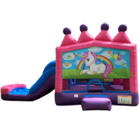 C02 Unicorn Bounce House With Slide (Wet/Dry) Combo Best for ages 2+ Space Needed 29' L  X 16' W X 18' H