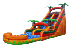 S06 18FT Tropical Fire - Water  Slide with XL Pool ( Family Friendly )  Best for ages 5+ Space Needed 40 D x 27 W x 21 H