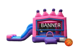 C08 Princess Tiara Bounce House With Slide (Wet/Dry) Combo  Best for ages 2+ Space Needed 30 L x 19 W x 20 H