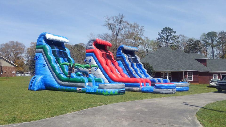 three blue water slides