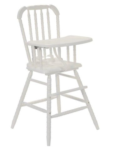 Vintage Wooden High Chair - White