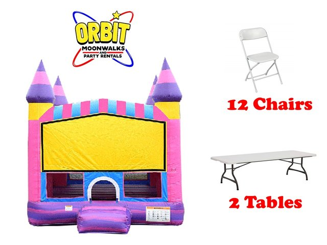 Party Package B (Cotton Candy Bounce House, 2 Tables, 12 Chairs)