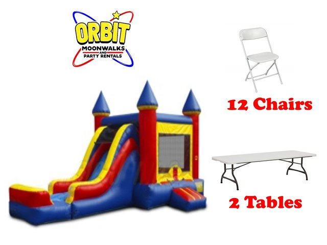 Party Package E (Red & Blue, 2 Tables, 12 Chairs)