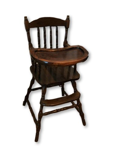 Wooden Vintage High Chair - Brown