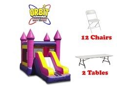 Party Package F (Pink Castle Combo, 2 Tables, 12 Chairs)