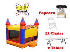 Party Package C (Turbo Blaze Bounce House, 2 Tables, 12 Chairs, Popcorn Machine)