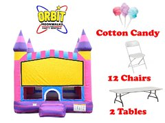 Party Package D (Cotton Candy Bounce House, 2 Tables, 12 Chairs, Cotton Candy Machine)