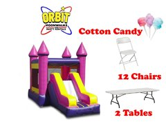 Party Package F (Pink Castle Combo, 2 Tables, 12 Chairs, Cotton Candy Machine)