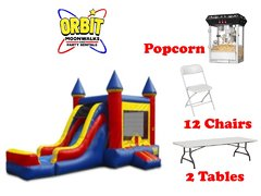 Party Package F (Red & Blue, 2 Tables, 12 Chairs, Popcorn Machine)