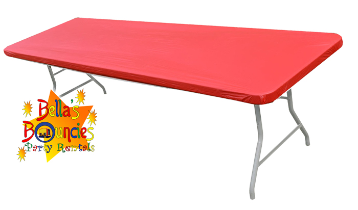 8 foot fitted table covers red bella 39 s bouncies inflatable rentals in twin lakes il. Black Bedroom Furniture Sets. Home Design Ideas