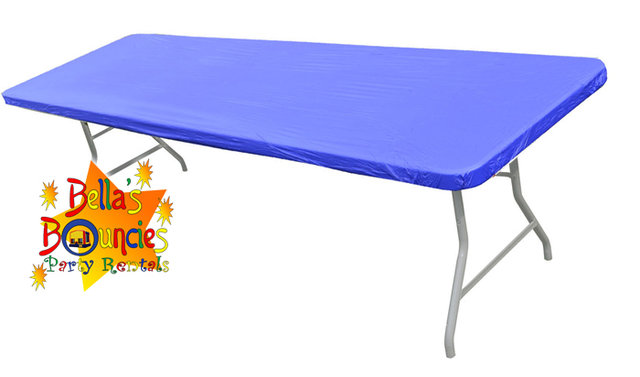 8 foot fitted plastic table covers - blue