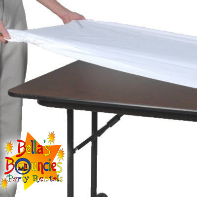 8 foot fitted plastic table covers - white