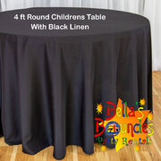 4 Foot Round Childrens Table with Black Linen Table Cover