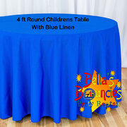 4 Foot Round Childrens Table with Blue Linen Table Cover