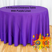 4 Foot Round Childrens Table with Purple Linen Table Cover