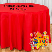 4 Foot Round Childrens Table with Red Linen Table Cover