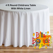 4 Foot Round Childrens Table with White Linen Table Cover