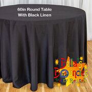 60 Inch Round Table with Black Linen Table Cover