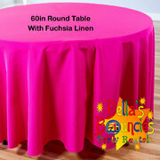 60 Inch Round Table with Fuchsia Linen Table Cover