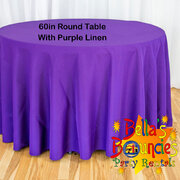60 Inch Round Table with Purple Linen Table Cover