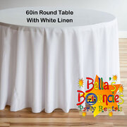 60 Inch Round Table with White Linen Table Cover