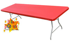 8 foot fitted plastic table covers - red