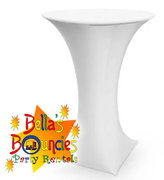 "30"" High Boy Cocktail Table with White Spandex"