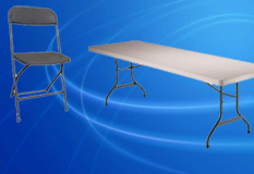 Package 1. 4 8ft Tables and 40 Charcoal Chairs