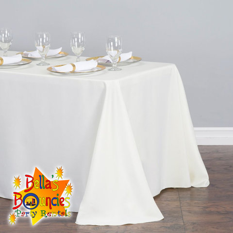 8 Foot Banquet Table with White Linen Table Cover