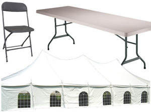Package 10. 20x60 High Peak Tent w/sides, 12 8ft Tables and 120 Charcoal Chairs