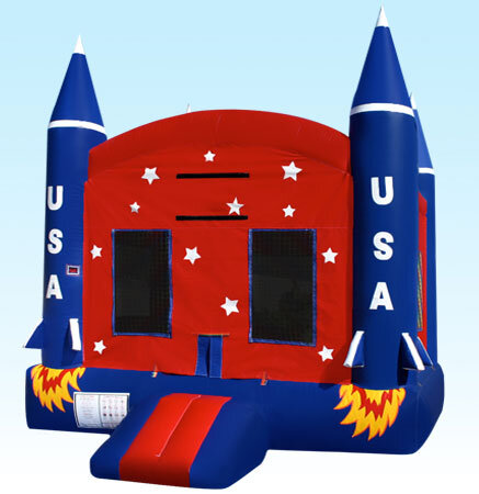 Patriotic American Rocket Jumper Bounce House Rental Chicago IL