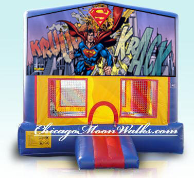 Superman Bounce House Inflatable Rental Chicago Illinois Moonwalks Party Bouncy Castle