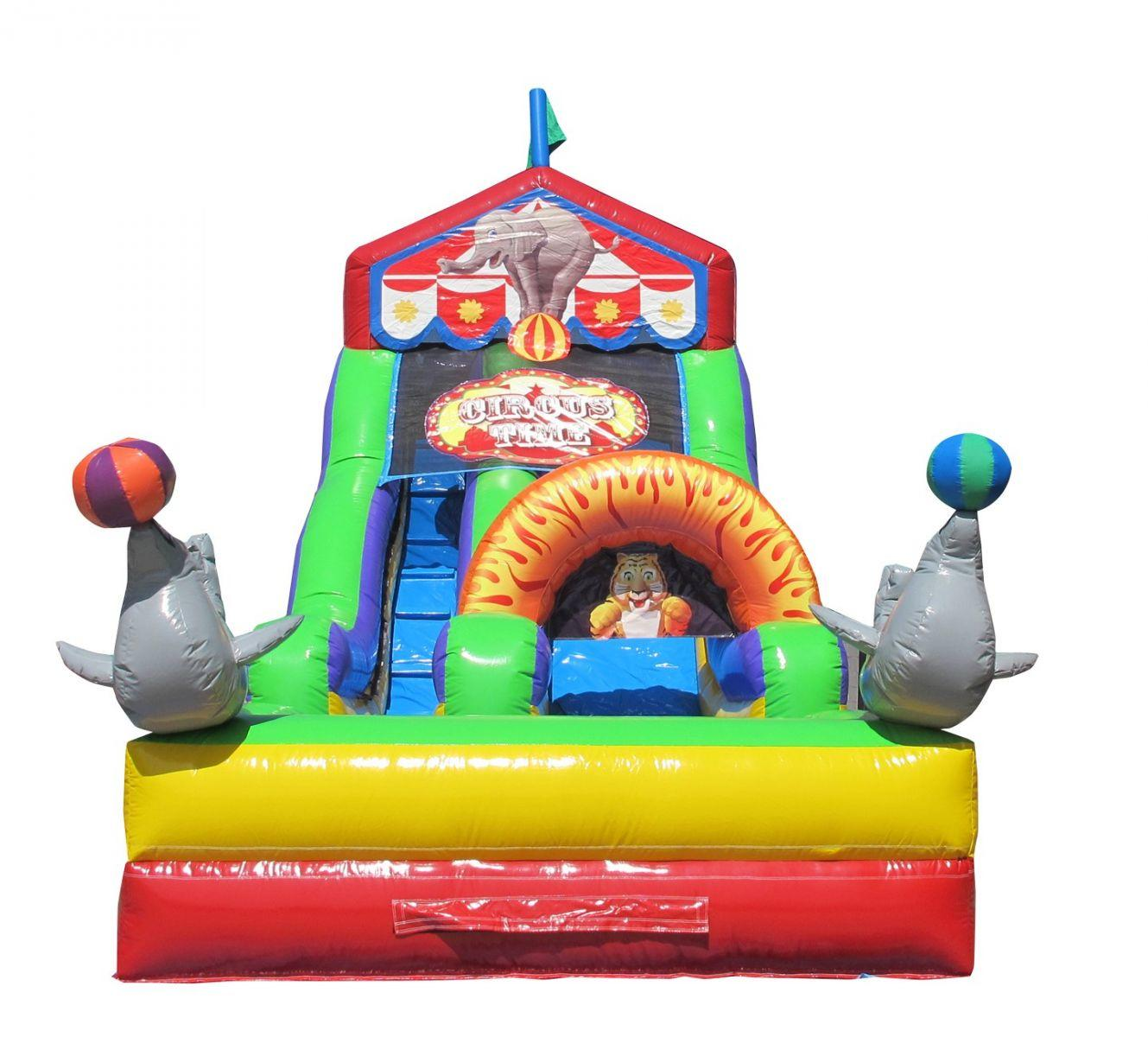 Chicago Circus Time Carnival Themed Waterslide Inflatable Rental Chicago IL