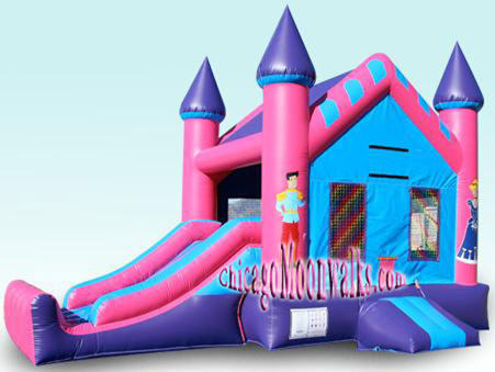 Pink Princess 3-1 Moonwalk Rental Chicago Illinois.  Just The Right Bouncer, Features a Slide & Basketball Hoop. So pretty and Pink, perfect for your Royal little darling.  Rent a Jumpy Castle Combo Today.