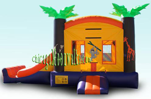 Tropical 3-1 Bounce House Rental Chicago, Great Themed Moonwalk.  Children Party Rental Illinois.  Features a Slide & Basketball Hoop. If you are planning a Luau Party, this will be the finishing touch, that will be the highlight of your Celebration!