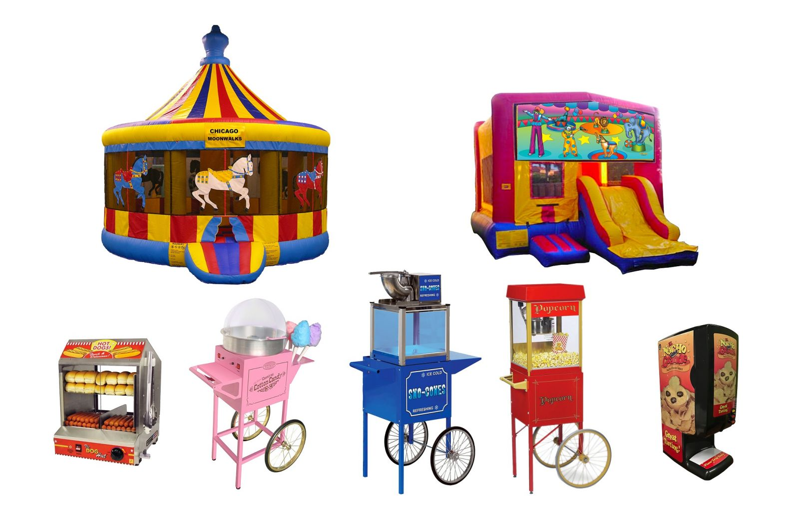 Chicago Party Package Rentals, Inflatable Bounce House, Concession Machines