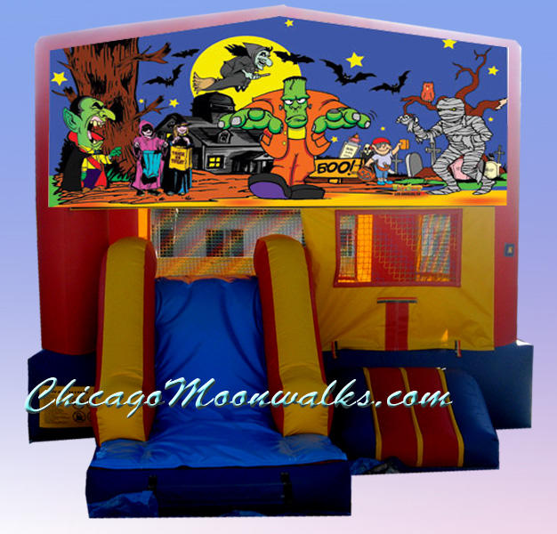 Halloween Bounce House Rental Chicago, IL.  Party Rental Moonwalks for Halloween, are a Must for Children%u2019s Entertainment.  Chicago Moonwalks offers a Variety of Inflatable Moon Jumps, Sure to Fit your Theme.
