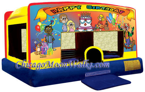 Happy Birthday Indoor Bounce House Inflatable Rental Chicago Illinois Moonwalks Party Bouncy Castle