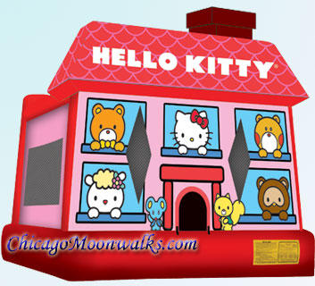 Hello Kitty Moonwalk Bouncer Rental Chicago, Bounce House, Bouncy castle party rental, children's kids event birthday parties