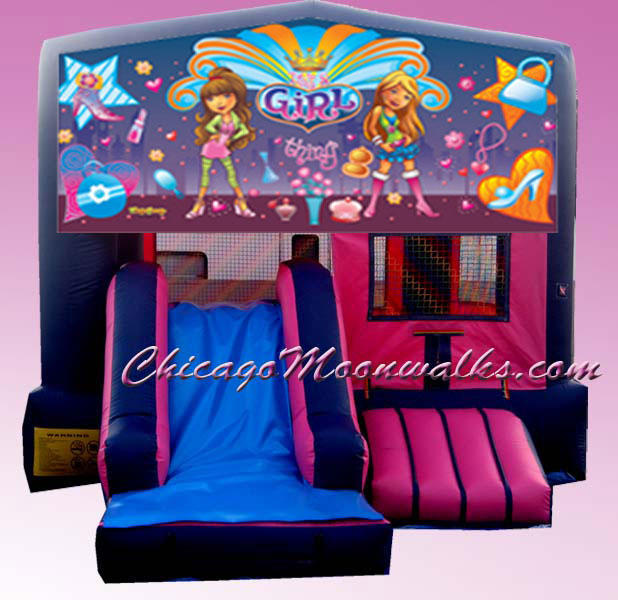 Its a Girl Combo Bounce House Inflatable Rental Chicago Illinois Moonwalks Party