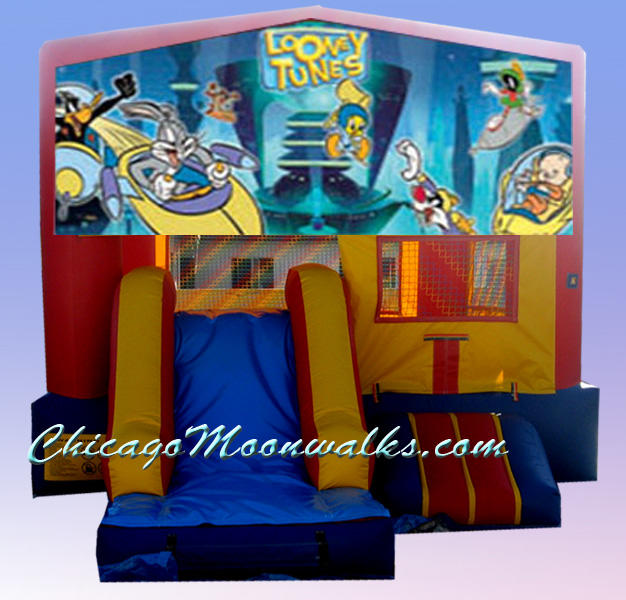 Looney Tunes Jumping Jack Rent Moonwalk Chicago. Chicago Party Inflatables & Concession Machines are a Must for any Children%u2019s Birthday, or Family Event. Consider Adding Popcorn, or Cotton Candy to Delight all Your Guests.  Jumping, Bouncing, Sliding will provide Entertainment, and Kids really Love It.