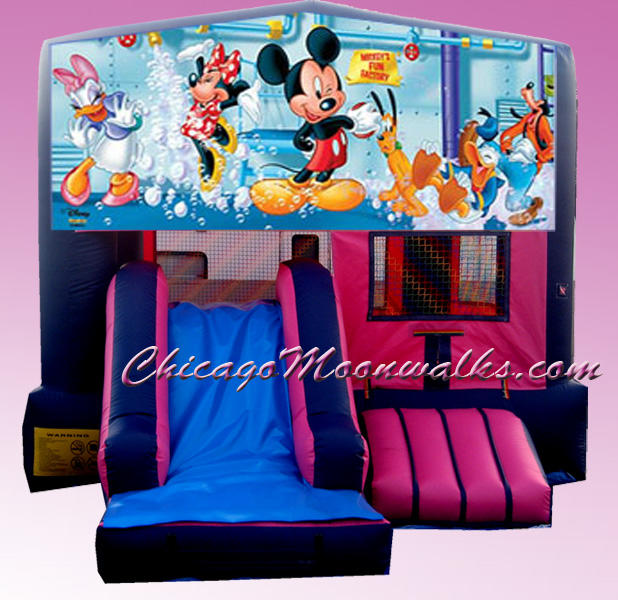 Mickey Mouse Pink 3 in 1 Inflatable Combo Bounce House Rental Chicago Illinois