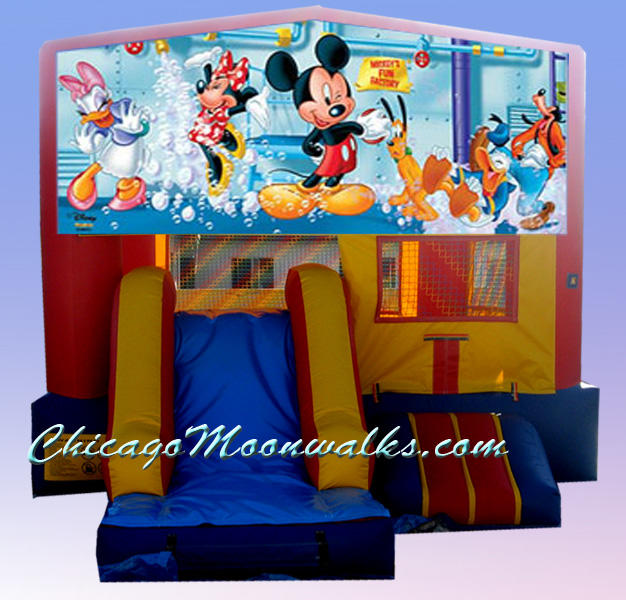 Mickey Mouse 3 in 1 Inflatable Combo Bounce House Rental Chicago Illinois