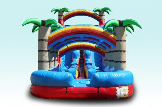 Chicago Water Slide Palm Paradise Dual Lane Waterslide Rental in Chicago, Inflatable Waterslide