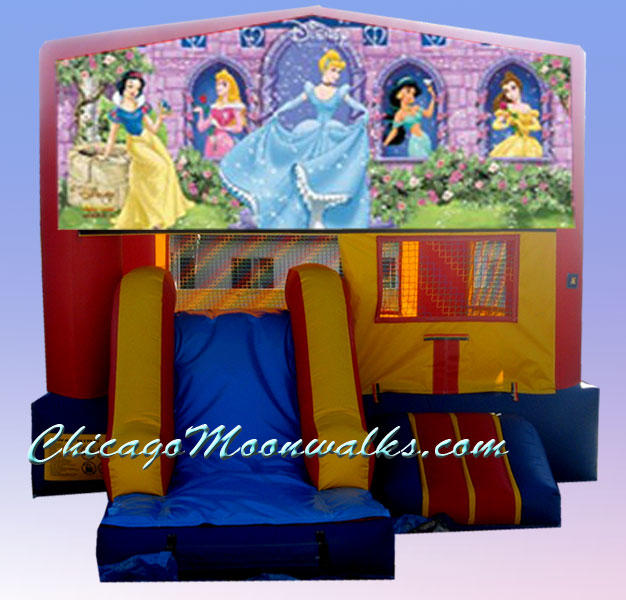 Disney Princess Bouncer Rental Chicago & Suburbs Illinois.  Inflatable Jumper Features a Slide & Basketball Hoop.  Delight Your Little Princess with this Awesome Moon Jump.  Characters Featured are Snow White, Sleeping Beauty, Cinderella, Jazmin & Belle.