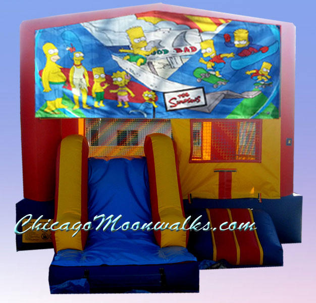 Simpsons 3 in 1 Inflatable Slide Combo Bounce House Rental Chicago Illinois