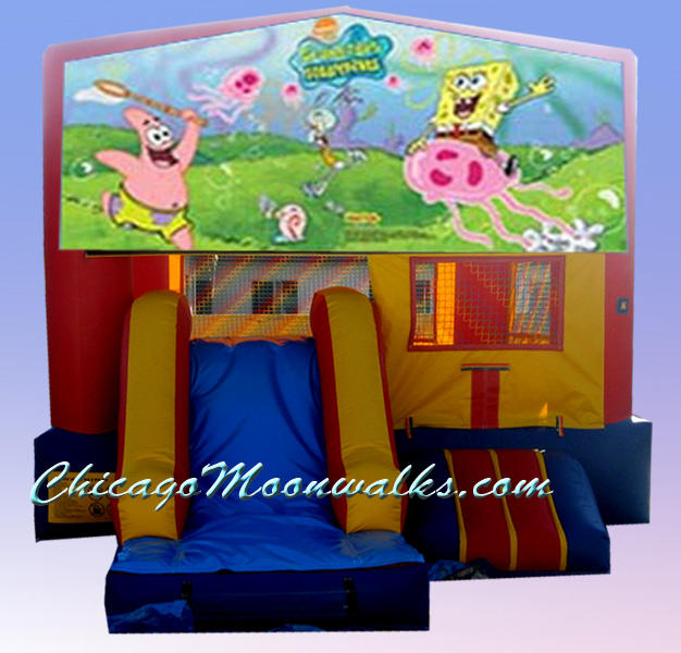 Spongebob 3 in 1 Inflatable Slide Combo Bounce House Rental Chicago Illinois