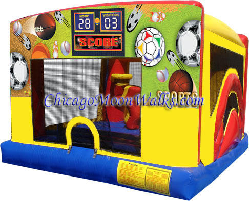Indoor Combo Bounce House Inflatable Rental Chicago Illinois Moonwalks Party Bouncy Castle