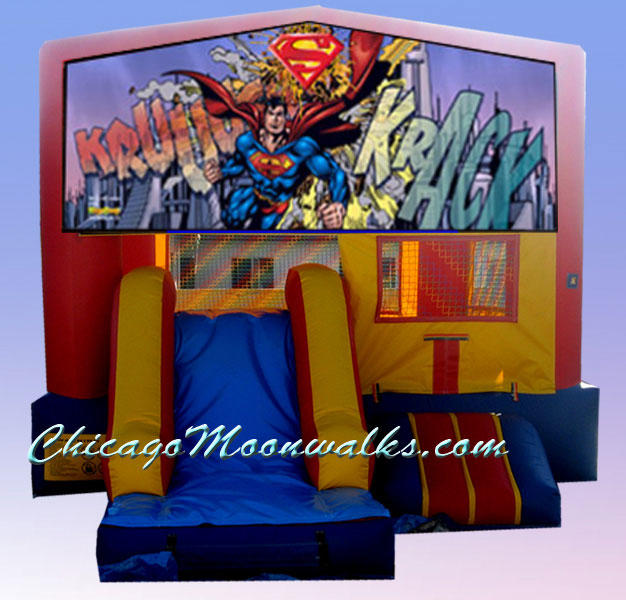 Superman 3 in 1 Inflatable Slide Combo Bounce House Rental Chicago Illinois